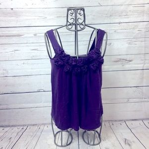 Express Purple Flower Tank Top